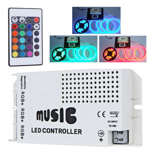 musik led controller rgb 12v 24v mit funkfernbedienung f r 10 46 inkl versand. Black Bedroom Furniture Sets. Home Design Ideas